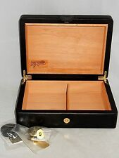 """NEW ~ DON SALVATORE by BUDDY PRODUCTS BLACK LEATHER & WOOD 12.5"""" CIGAR HUMIDOR"""