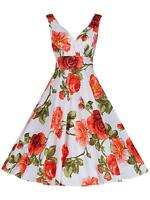 VINTAGE STYLE 40'S 50'S CORAL ROSE FLORAL FULL CIRCLE BRIDESMAID TEA DRESS 14