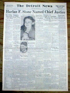 BEST 1941 hdl newspaper HARLAN F STONE is named CHIEF JUSTICE o US Supreme Court