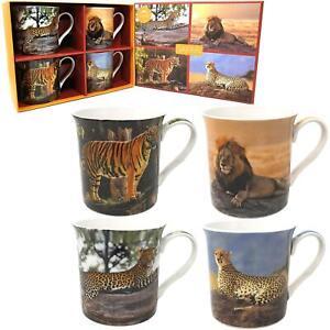 Set-de-4-Safari-Grand-Chats-Lion-Leopard-Tigre-Fin-Chine-Tasses-Boite-Cadeau