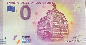 BILLET-0-EURO-BAMBERG-ALTES-RATHAUX-IM-FLUSS-2018-NUMERO-10000-DERNIER