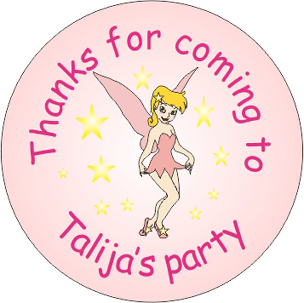 48 custom personalised birthday / party stickers for girls