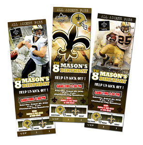 Hot NEW ORLEANS SAINTS BIRTHDAY PARTY INVITATION TICKET PHOTO 1ST CUSTOM  free shipping