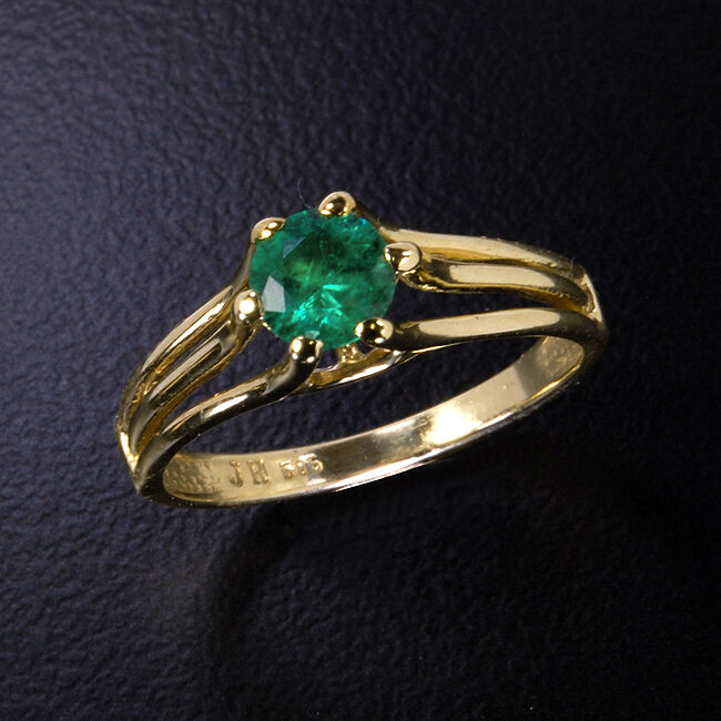 Natural EMERALD Engagement  Wedding Eternity 14k Yellow gold Ladies Ring YE-41
