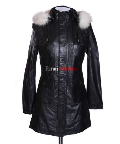 lungo vitello bianca Black vitello in con Ladies pelliccia cappotto cappuccio di Nuovo pelle Michelle di bianca in qgIfwSwZ