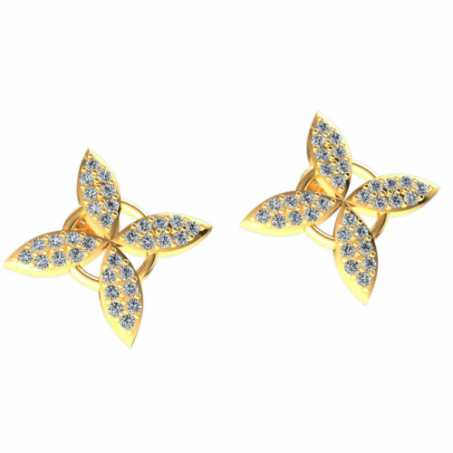Details about  /Genuine 0.25ct Round Cut Diamond Ladies Flower Studs Earrings Solid 14K Gold