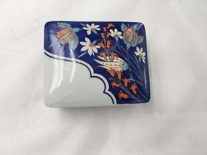 Vista-Alegre-Isnik-Trinket-Box-Porcelain-Blue-Orange-White-Floral-Portugal