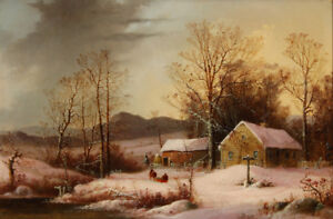 """perfect 36x24 oil painting handpainted on canvas """"Farmstead in Winter """"@N9676"""
