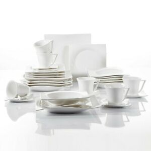 Porcelain-Dinnerware-Set-of-6-Cream-White-Glazed-Cups-Saucers-Plates-Dinner-Set