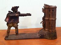 """Antique Original Cast Iron J & E Stevens """"William Tell"""" Mechanical Coin Bank"""
