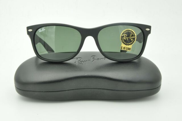 4f16772fab Ray Ban RB 2132 New Wayfarer Sunglasses 622 Matte Black   Green Lenses 52mm