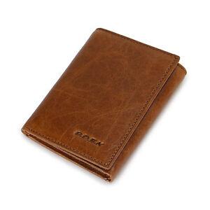New-Men-039-s-Small-Mini-Trifold-Cuir-Veritable-Portefeuille-Marron-Porte-carte-porte-monnaie