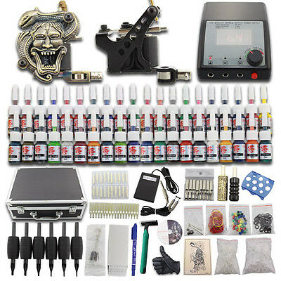 Tätowierung Komplett Tattoo Kit Tattoomaschine Set 40 Tattoofarbe Nadeln Koffer
