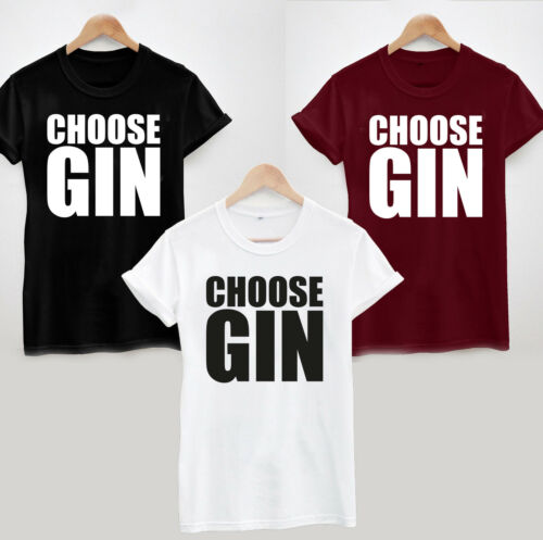FUNNY COOL SLOGAN TEE TOP LADIES AND UNISEX LOVE LIFE CHOOSE GIN T-SHIRT