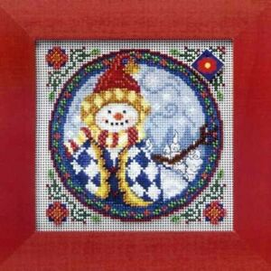 MILL-HILL-Counted-Cross-Stitch-Beads-Kit-JIM-SHORE-Western-Snowman