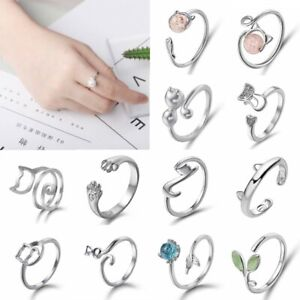 New-Silver-Crystal-Pearl-Cat-Adjustable-Finger-Ring-Toe-Knuckle-Finger-Jewellery