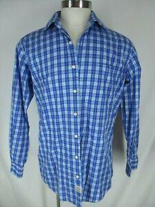 Peter-Millar-Mens-Blue-Plaid-Long-Sleeve-Cotton-Shirt-L