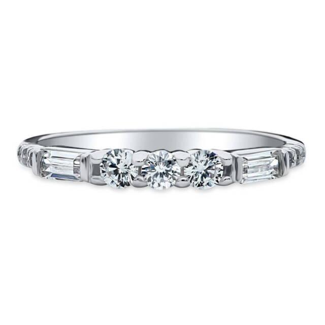 BERRICLE Sterling Silver CZ Art Deco Anniversary Wedding Half Eternity Band Ring