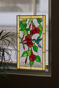Details About Tiffany Style Stained Gl Window Rv Main Door Insert Hummingbird Flowers