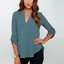 Summer-Women-Loose-V-Neck-Chiffon-Long-Sleeve-Blouse-Casual-Collar-Shirt-Tops thumbnail 9