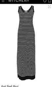 WITCHERY-NEW-SZ-XL-16-KNIT-TANK-MAXI-DRESS-BLACK-WHITE-STRIPE