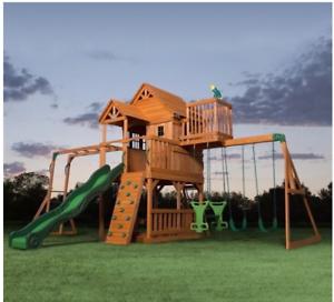 Backyard Discovery Monticello Cedar Swing Set backyard discovery all cedar swing set slide all wooden playground