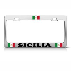 ITALIAN SICILY FLAG FLAG Chrome Heavy Duty Metal License Plate Frame Tag Border