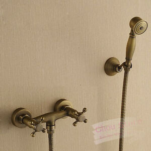 bathroom faucet hand held shower mixer antique brass finish home