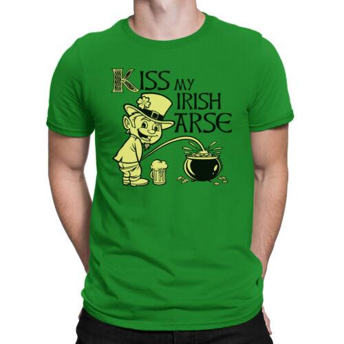 KISS MY IRISH AR*E Mens T-Shirt Funny Ireland St Patricks Day Paddy Leprechaun
