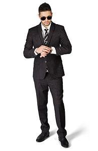Slim Fit Pinstripe Black Men Suit 2 Button Notch Lapel Fitted No Pleat 1688 AZAR