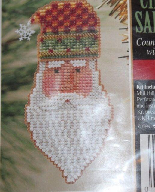 3 Charmed Santa Face Ornament Mill Hill Cross Stitch Bead Kit San