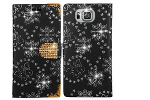 NEW-Diamond-Flip-Wallet-Book-Case-Cover-For-Various-Samsung-Mobile-Phones