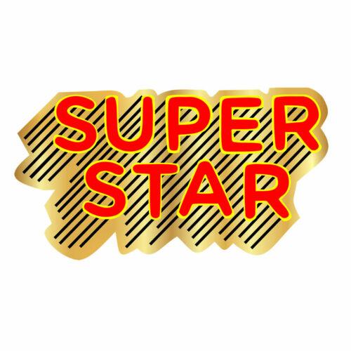 2 x  Super Star Iron on Screen Print Machine Washable Transfer hero patch badge