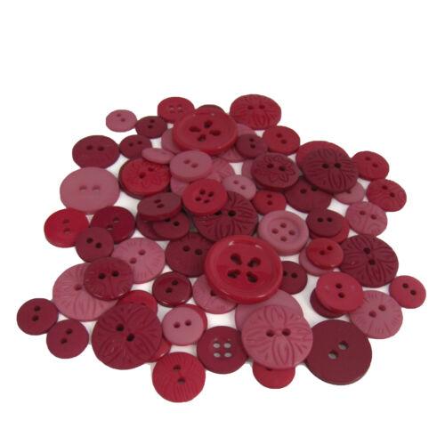 ronds 1cm-2cm Patchwork rouges plus de 50 par boîte Boutons Motifs assortiment