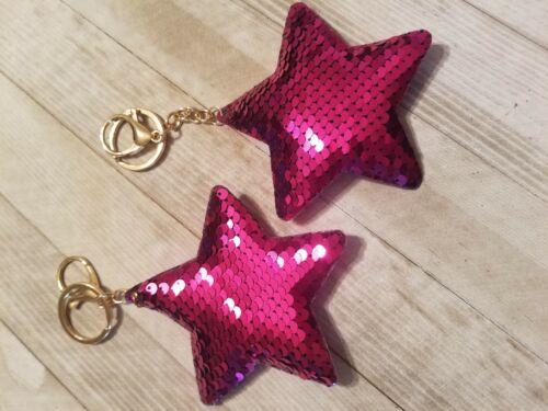 2 Star Shaped Mermaid Sequins Key Chain Handbag Pendant Key Ring Jewelry