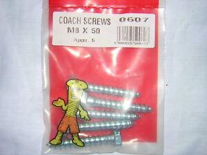 5PC-M8-X-50-COACH-SCREWS-HEXAGON-HEAD-SINGLE-THREAD-F-U-M-TOOLS-FUM