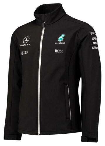 Mens F1 Mercedes AMG Petronas Black Softshell Team Jacket Formula 1 Size XS