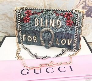 3acbe56bfc Details about $6700 Gucci Dionysus 'Blind for Love' Python Pearl Crystal  Chain Bag