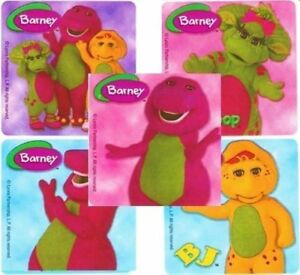 5 x square stickers photo realistic barney baby bop bj kids show