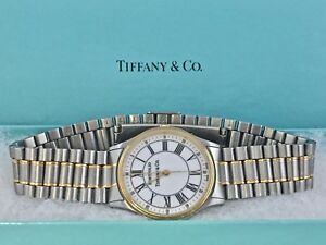 Tiffany-amp-Co-Portfolio-Swiss-Mens-Ladies-Watch-Stainless-18k-Gold-Tone-1889K