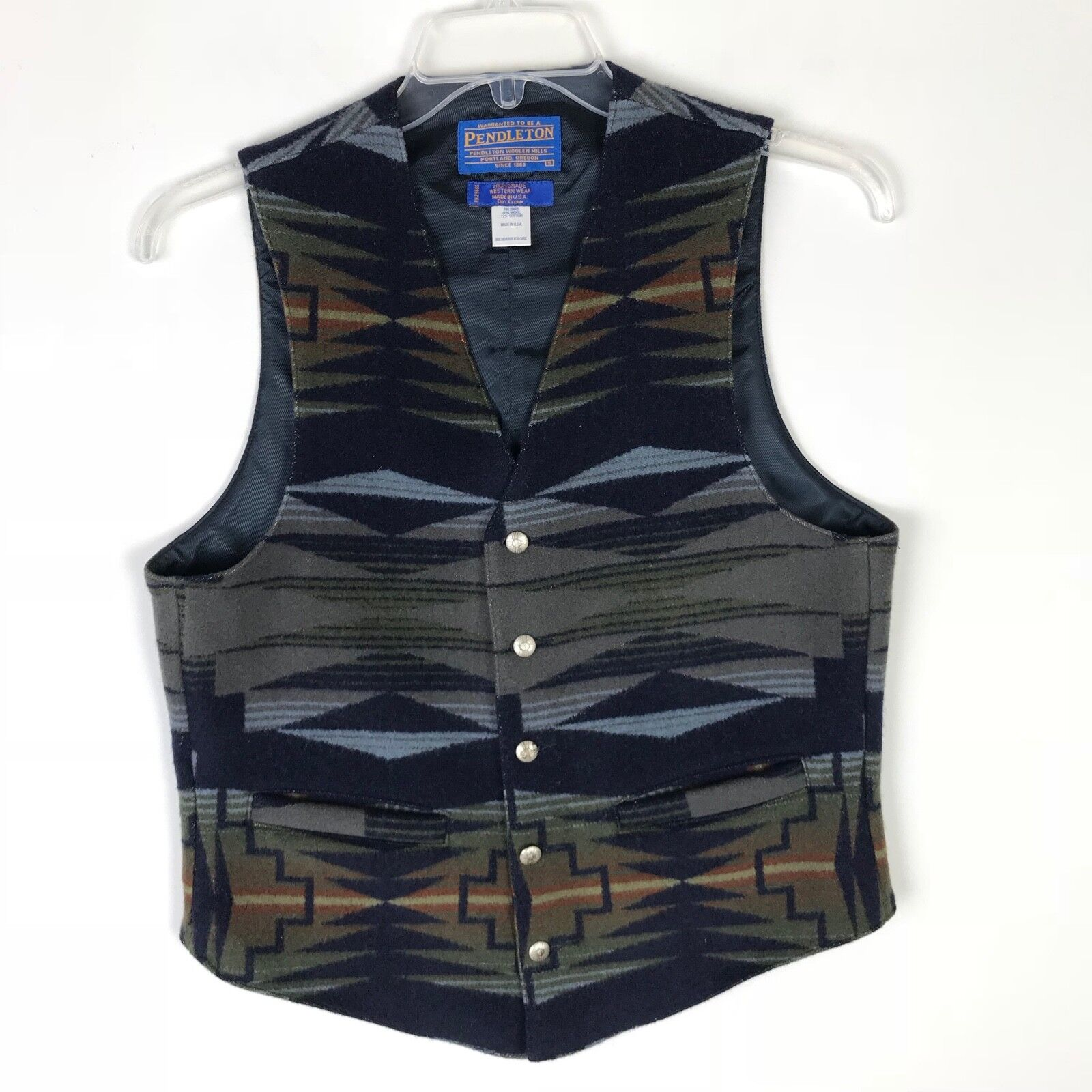 Pendleton Blau Western High Grade Tribal Wool Cotton  Herren Vest - Small S