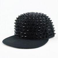 Unisex Punk Hip-hop Cap Rapper Hat Rivets Spikes Spiky Studded Baseball Cap NEW