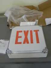 Exit Light Company Exit Sign, Wet Listed   Red LED   White Housing, Model