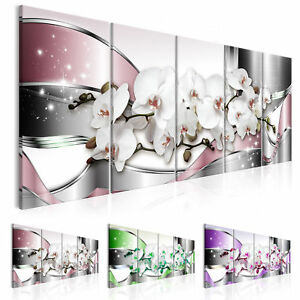 wandbilder xxl abstrakt leinwand bilder blumen orchidee 5 teilig b c 0181 b n ebay. Black Bedroom Furniture Sets. Home Design Ideas