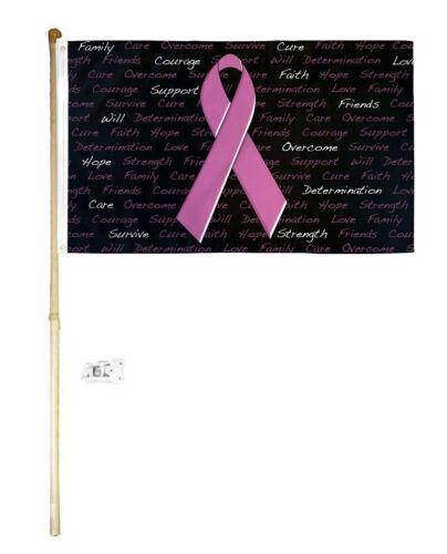 5/' Wood Flag Pole Kit Wall Mount Bracket 3x5 Breast Cancer Inscription Poly Flag