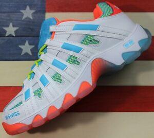 K-Swiss-ST429-Men-039-s-Classic-Casual-Tennis-Shoes-White-Blue-Orange-4500332243
