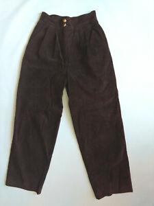 DANIER-Womens-Sz-8-Dark-Brown-High-Waist-100-Real-Suede-Leather-Pants-Trousers
