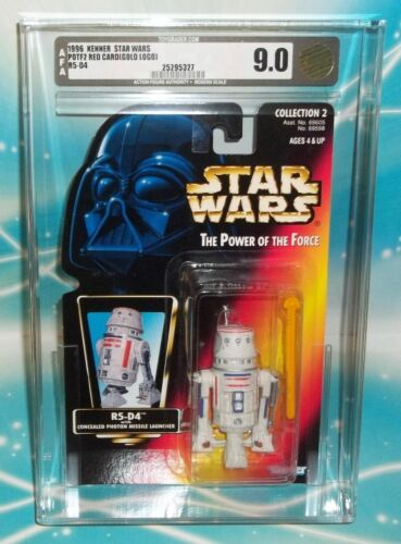 STAR WARS POTF RED ORANGE CARD R5D4 AFA 9.0