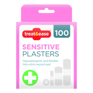 Pack-Of-100-Treat-amp-Ease-Sensitive-Assorted-Plasters-Hypoallergenic-Non-stick-Pads