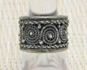 Portugal-Topazio-925-Sterling-Silver-Swirl-Design-Band-Ring-Size-6-5-Vintage